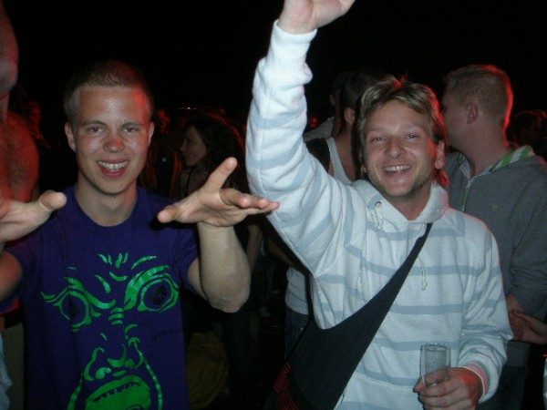 "This is at the Electronic Carnival in Fælledparken, 2008 (oh my, that was a good night). To the right you see Jonas, one of the very few people that I had met at a trance party back in the day (that's many years before this) and then later on met at a jungle party. This kind of thing happened so rarely, it made a huge impression. He also earns the rank of being a Secret Junglist by showing true knowledge of the fact that Casparados is one of the best dj's ever. We had abig and enthusiastic rant about this at Jean's ""final"" party the other day."