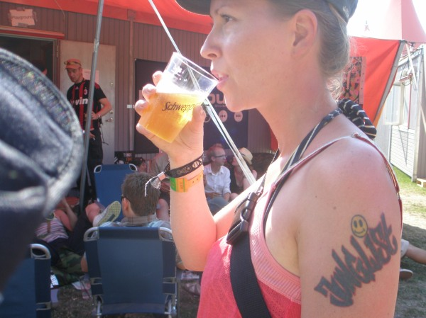 Junglist trying to blend in in Mediebyen at Roskilde, July 2009. I would say the tattoo is a dead giveaway, though.