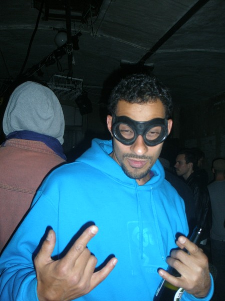 Nico Defrost, in odd superhero mode, Warehouse9 2009.
