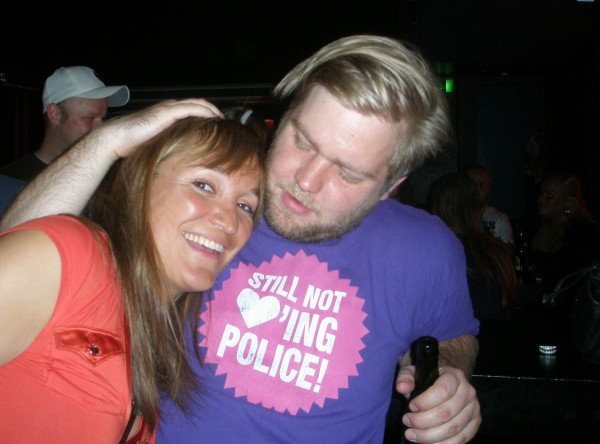 A whole lot of <3-ing in this photo.Liquid still not loving police, tho. Tim Driver's birthday party at Bassment, Rust, June 2009.