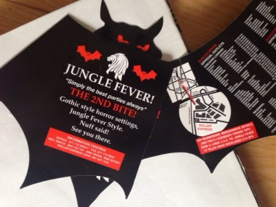 A closer look at the Jungle fever bat flyer, which has survived, because it ended up as deco in my diary at some point (when I stopped making jungle flyer walls everywhere I went).
